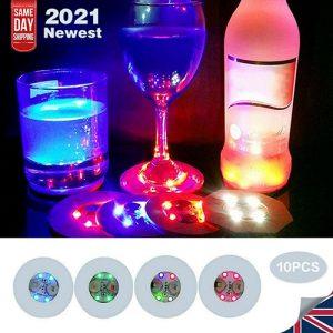 10pcs Led Coaster Light Up Drink Bottle Cup Mat Glow Club Party Bar Decor New (16)