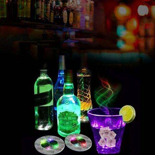 10pcs Led Coaster Light Up Drink Bottle Cup Mat Glow Club Party Bar Decor New (2)