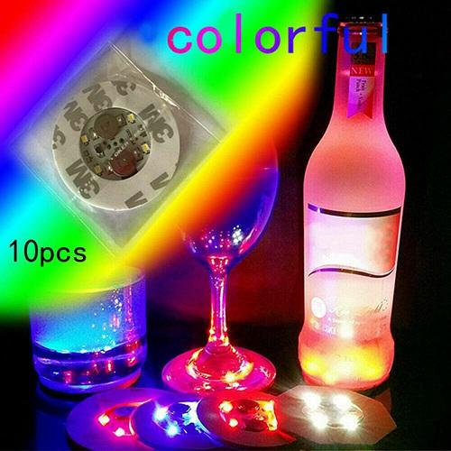 10pcs Led Coaster Light Up Drink Bottle Cup Mat Glow Club Party Bar Decor New (25)
