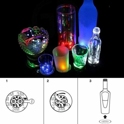 10pcs Led Coaster Light Up Drink Bottle Cup Mat Glow Club Party Bar Decor New (3)