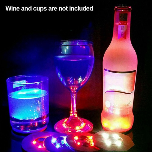 10pcs Led Coaster Light Up Drink Bottle Cup Mat Glow Club Party Bar Decor New (6)