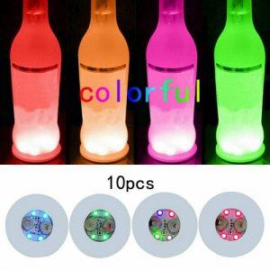 10pcs Led Coaster Light Up Drink Bottle Cup Mat Glow Club Party Bar Decor New (7)