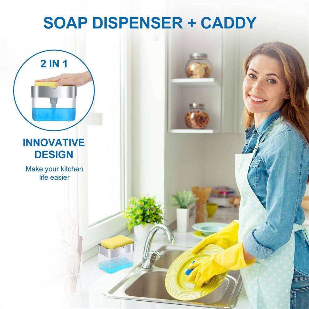 2 In 1 Pump Soap Dispenser And Sponge Caddy Holder For Dish Soap With Sponge (10)