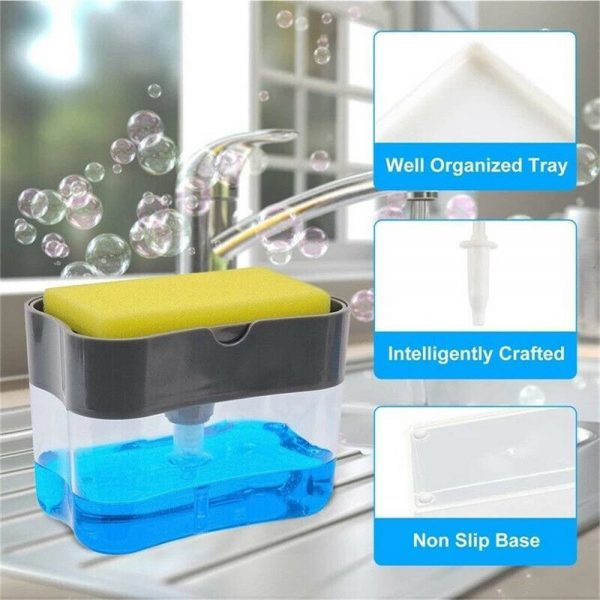 2 In 1 Pump Soap Dispenser And Sponge Caddy Holder For Dish Soap With Sponge (12)