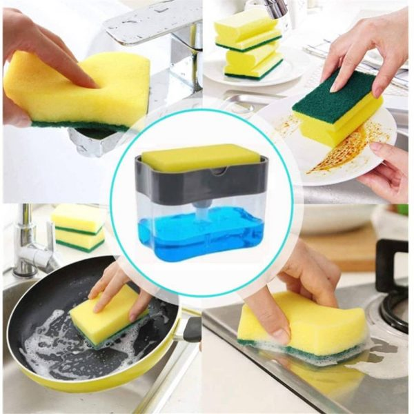 2 In 1 Pump Soap Dispenser And Sponge Caddy Holder For Dish Soap With Sponge (4)