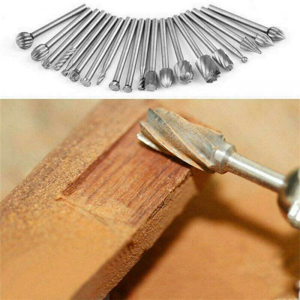 20pcs Shank Set For Wood Carving Woodworking Milling Cutter Rotary Rasp File Bit Tool For Metal Wood (4)