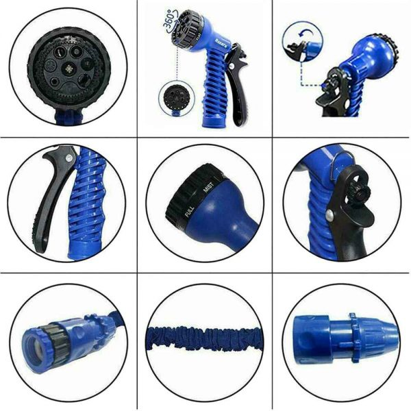 25 200ft Garden Hose Magic Pipe Expandable Compact Flexible Stretch Water Spray (10)