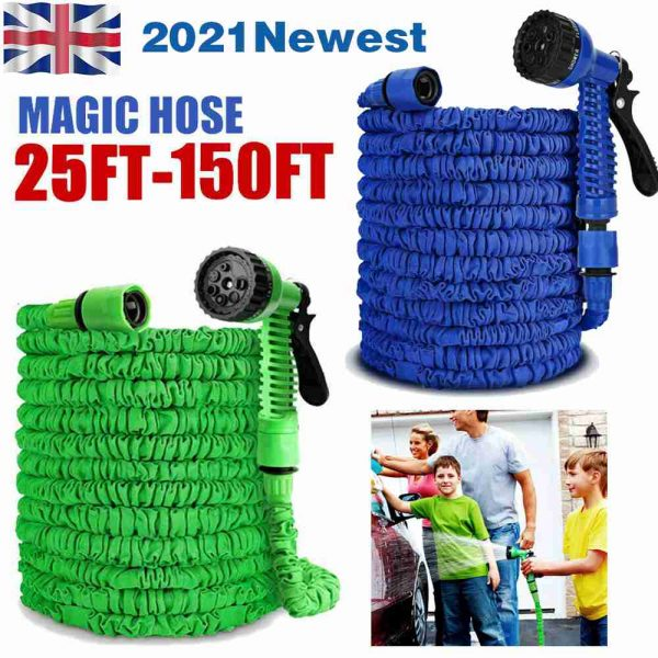 25 200ft Garden Hose Magic Pipe Expandable Compact Flexible Stretch Water Spray (2)