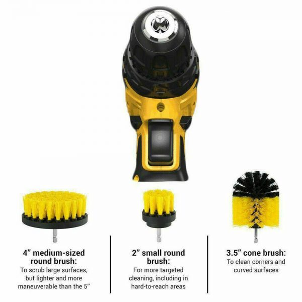 3pc Cleaning Drill Brush Cleaner Tool Electric Power Scrubber Kitchen Bath Car (15)