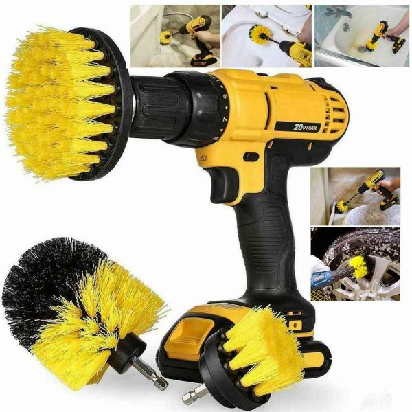 3pc Cleaning Drill Brush Cleaner Tool Electric Power Scrubber Kitchen Bath Car (17)