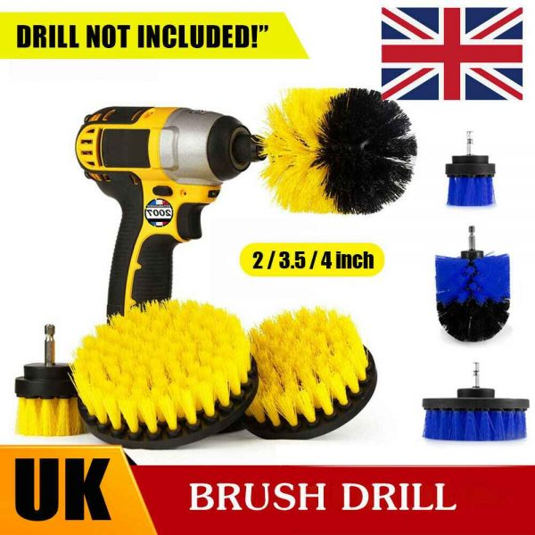3pc Cleaning Drill Brush Cleaner Tool Electric Power Scrubber Kitchen Bath Car (2)