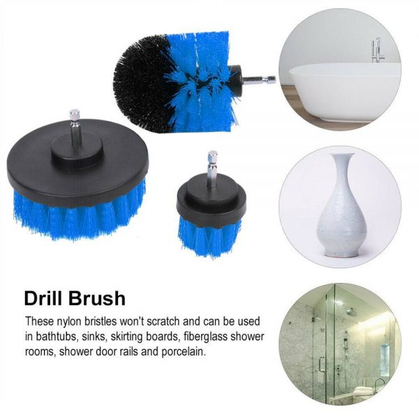 3pc Cleaning Drill Brush Cleaner Tool Electric Power Scrubber Kitchen Bath Car (6)