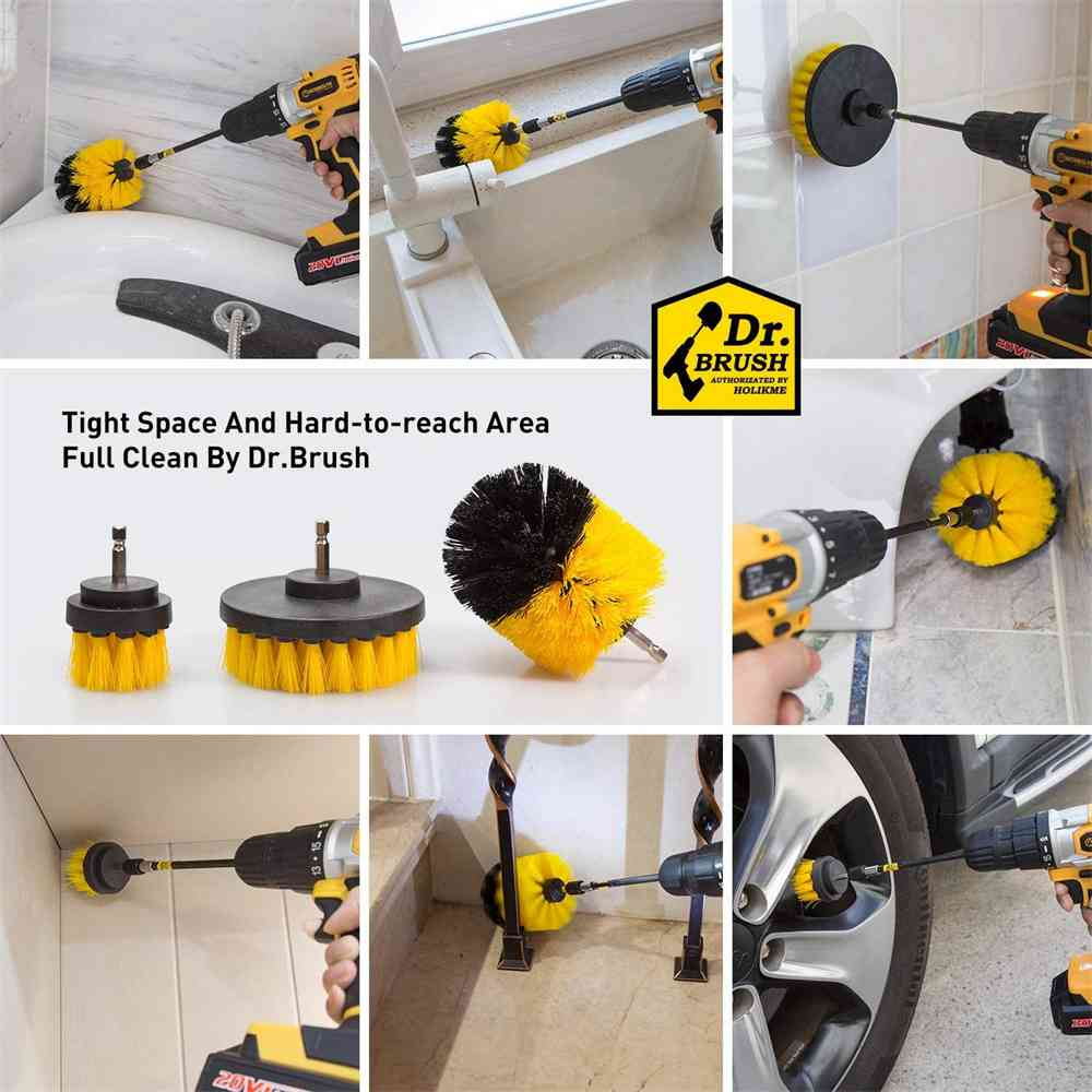 3pc Cleaning Drill Brush Cleaner Tool Electric Power Scrubber Kitchen Bath Car (8)