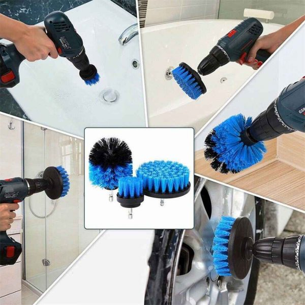 3pc Cleaning Drill Brush Cleaner Tool Electric Power Scrubber Kitchen Bath Car (9)