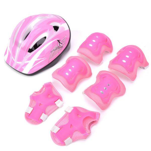 7 Pcs Skating Roller Skating Helmets Safety Bike Helmet Knee Elbow Protective Gear Set