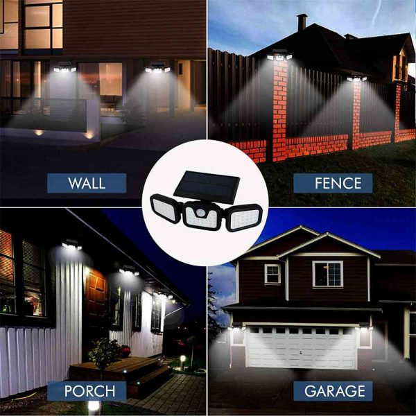74 Led Solar Powered Pir Motion Sensor Lamp Outdoor Garden Security Wall Light (11)
