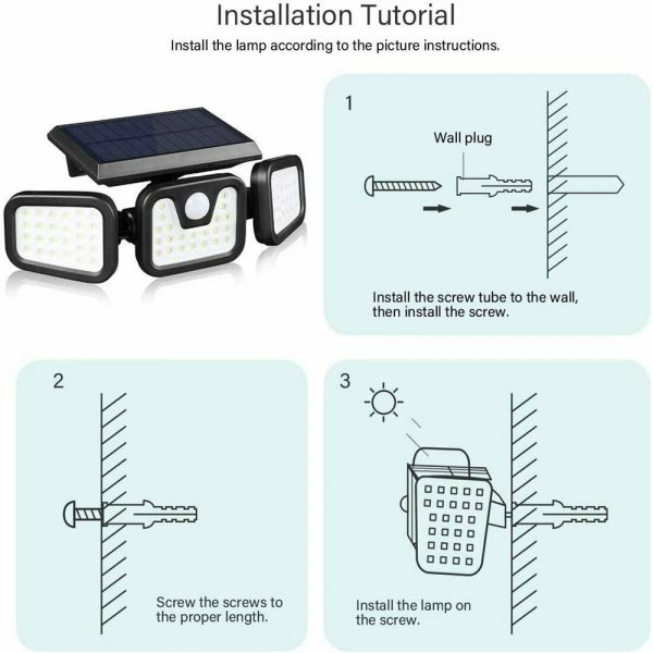 74 Led Solar Powered Pir Motion Sensor Lamp Outdoor Garden Security Wall Light (16)