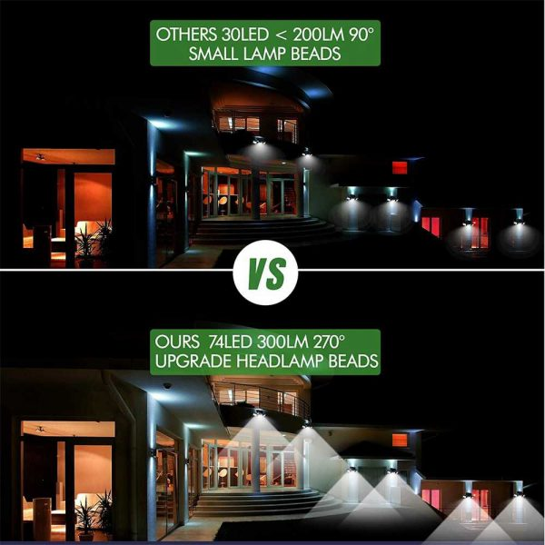 74 Led Solar Powered Pir Motion Sensor Lamp Outdoor Garden Security Wall Light (7)
