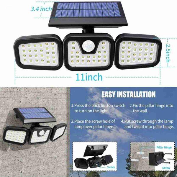 74 Led Solar Powered Pir Motion Sensor Lamp Outdoor Garden Security Wall Light (8)