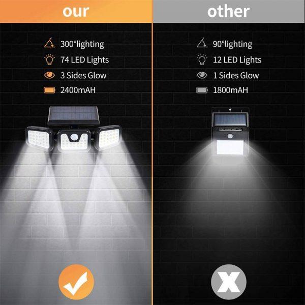 74 Led Solar Powered Pir Motion Sensor Lamp Outdoor Garden Security Wall Light (9)