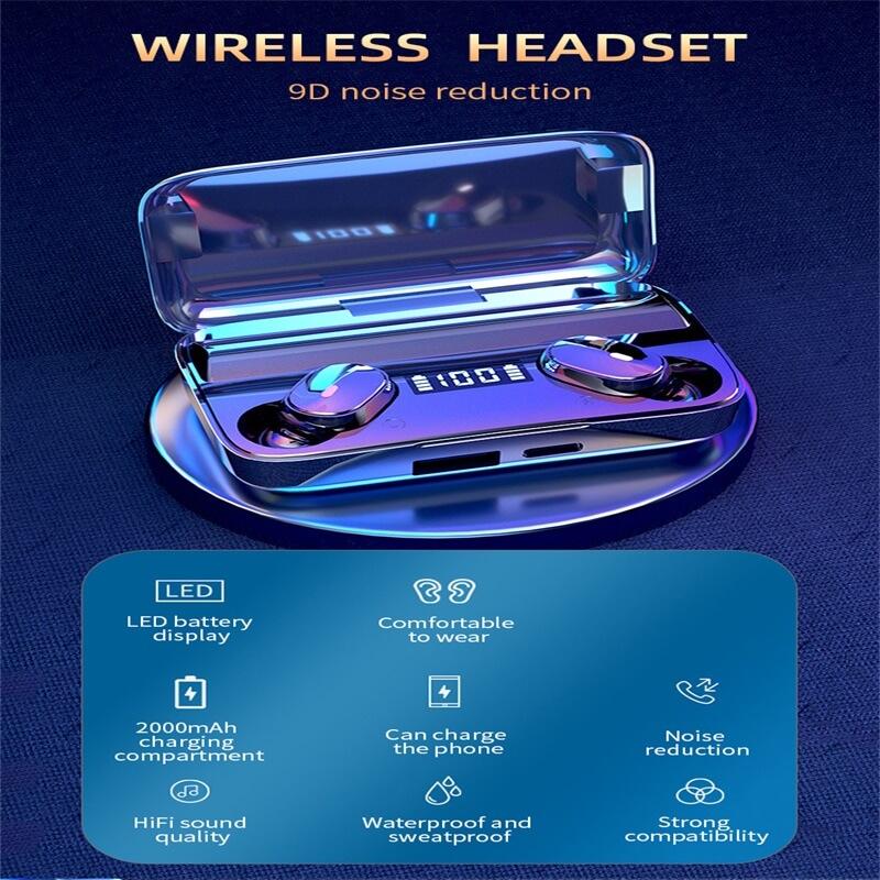 A9 Wireless Noise Cancelling In Ear Headphone Led Battery Display Mini Waterproof Earphone (1)