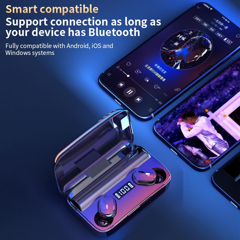 A9 Wireless Noise Cancelling In Ear Headphone Led Battery Display Mini Waterproof Earphone (2)