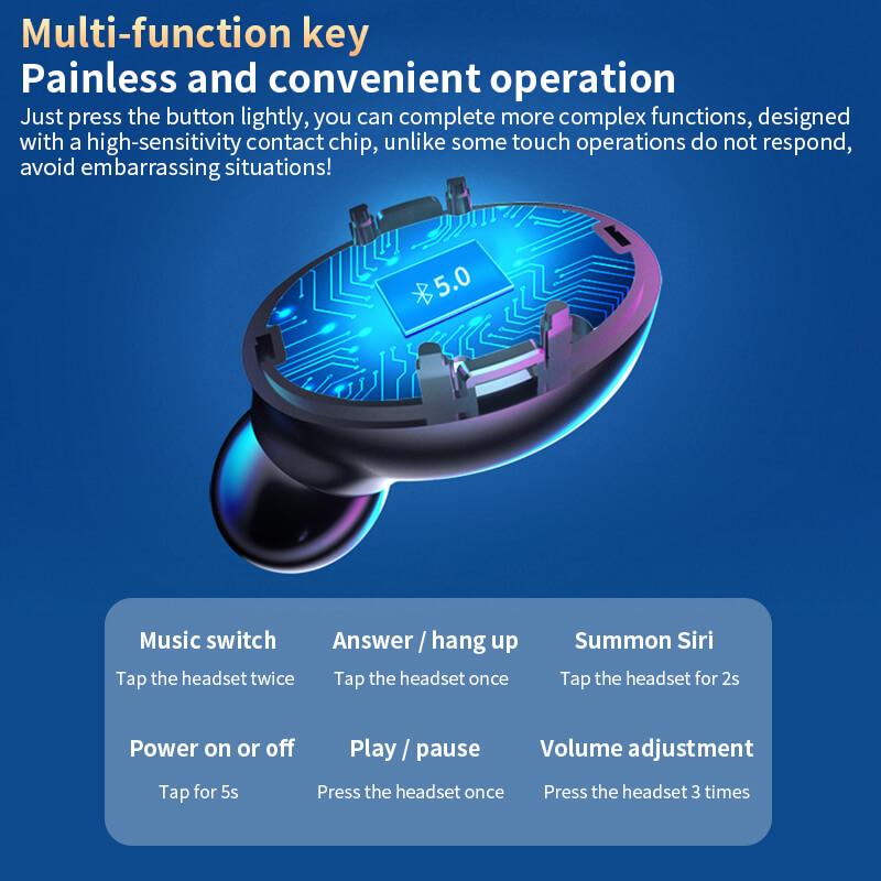 A9 Wireless Noise Cancelling In Ear Headphone Led Battery Display Mini Waterproof Earphone (7)