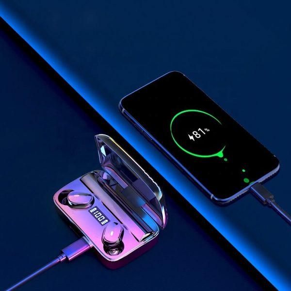 A9 Wireless Noise Cancelling In Ear Headphone Led Battery Display Mini Waterproof Earphone (8)
