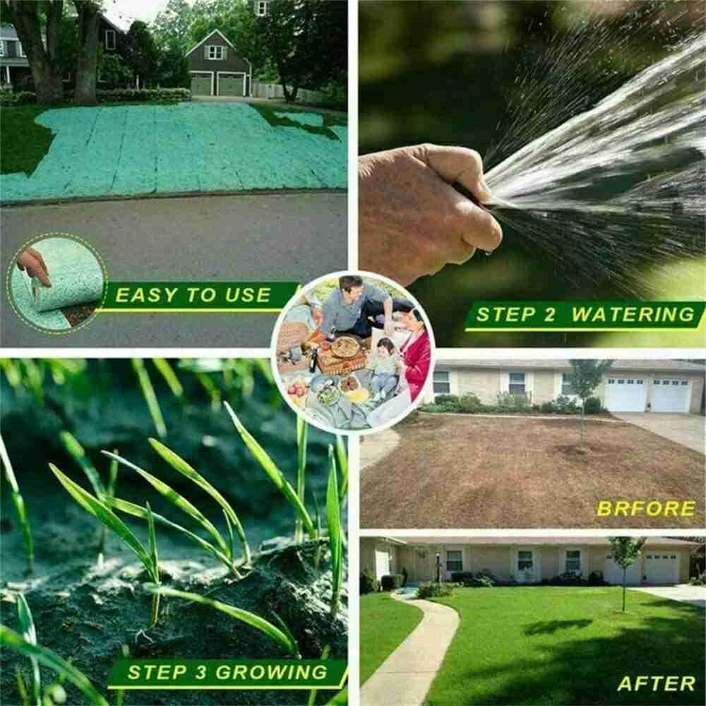 Biodegradable Grass Seed Mats Carpet Garden Backyard Lawn Pad Blanket (14)