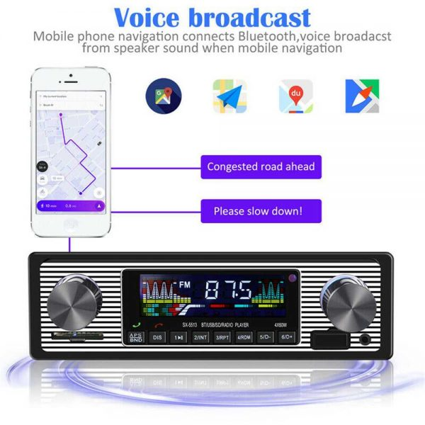 Bluetooth Vintage Car Radio Music Mp3 Player Stereo Audio 1din Usb Fm Aux In Sd (11)