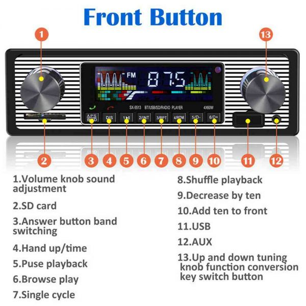 Bluetooth Vintage Car Radio Music Mp3 Player Stereo Audio 1din Usb Fm Aux In Sd (12)