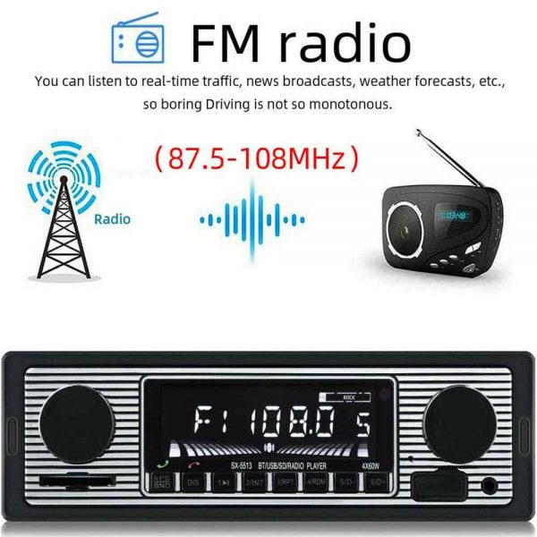 Bluetooth Vintage Car Radio Music Mp3 Player Stereo Audio 1din Usb Fm Aux In Sd (17)