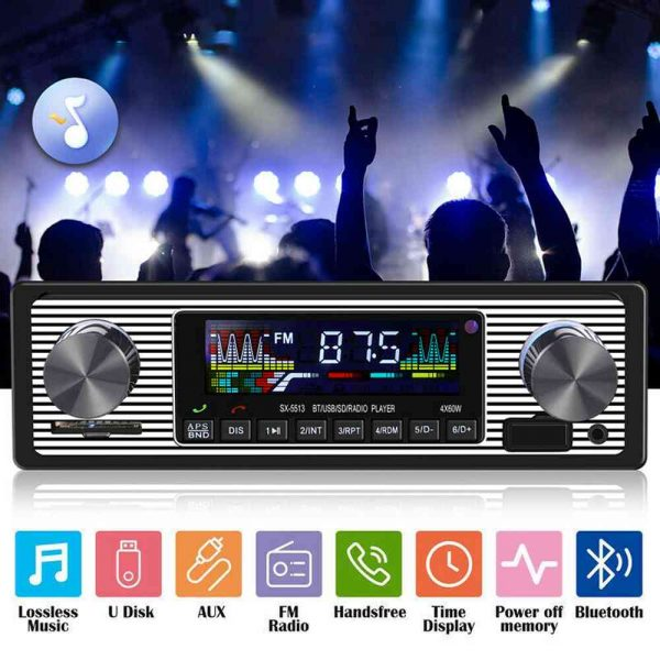 Bluetooth Vintage Car Radio Music Mp3 Player Stereo Audio 1din Usb Fm Aux In Sd (2)