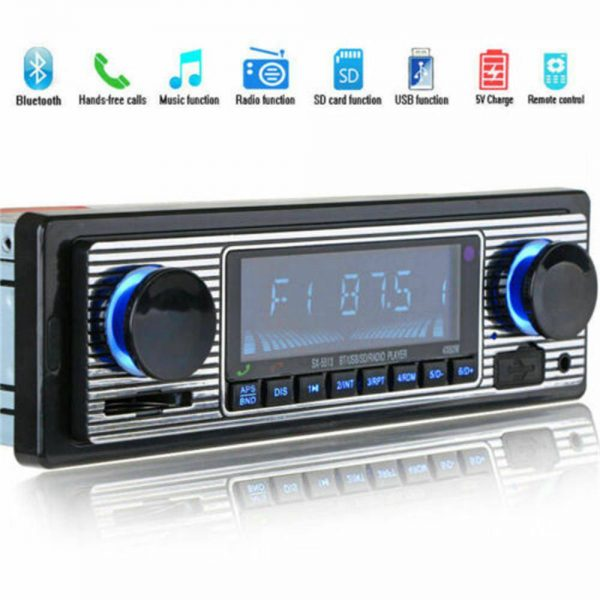 Bluetooth Vintage Car Radio Music Mp3 Player Stereo Audio 1din Usb Fm Aux In Sd (4)