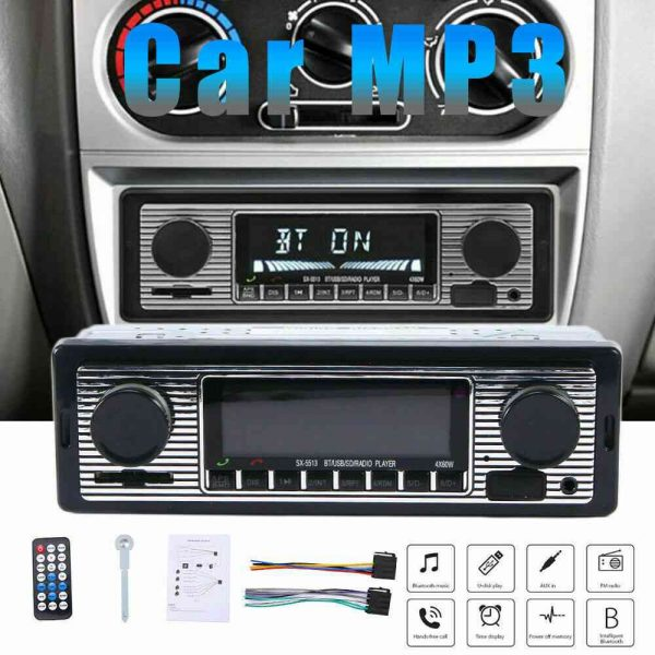 Bluetooth Vintage Car Radio Music Mp3 Player Stereo Audio 1din Usb Fm Aux In Sd (5)