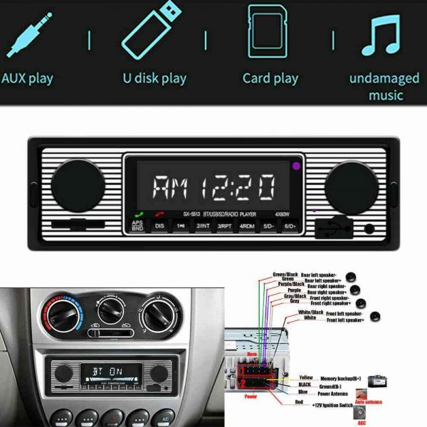 Bluetooth Vintage Car Radio Music Mp3 Player Stereo Audio 1din Usb Fm Aux In Sd (8)