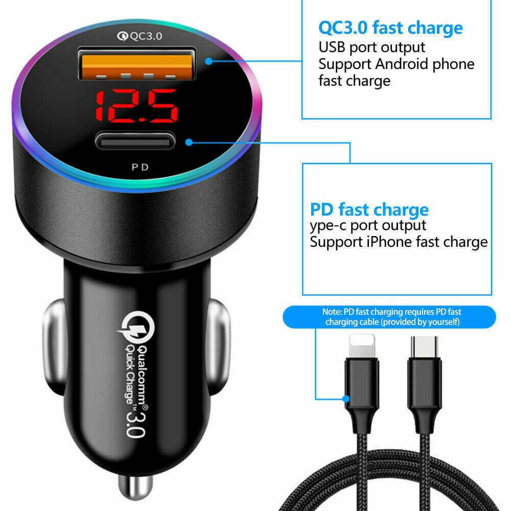 Charger Fast Charging Lighter Adapter Usb Type C Port Mobile Phone Cigarette Lighter Socket Adapter (1)