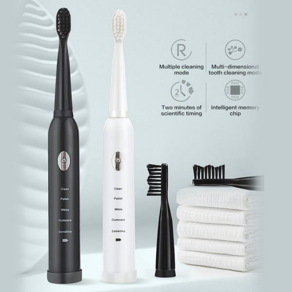 Electric Toothbrush Sonic Rechargeable 5 Modes Kids Adults Brush 4 Heads Usb New (19)