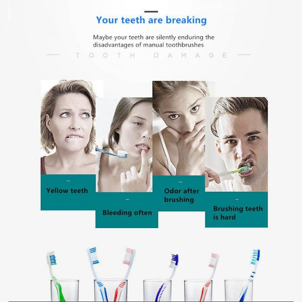 Electric Toothbrush Sonic Rechargeable 5 Modes Kids Adults Brush 4 Heads Usb New (3)