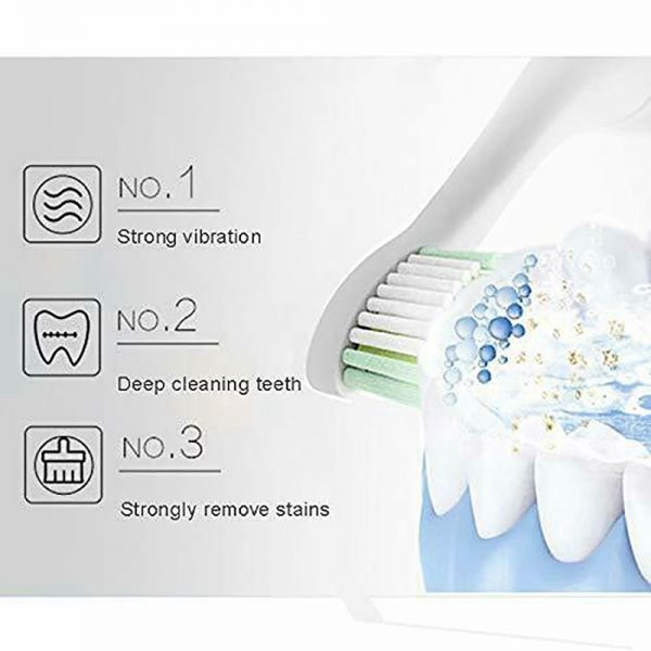 Electric Toothbrush Sonic Rechargeable 5 Modes Kids Adults Brush 4 Heads Usb New (8)
