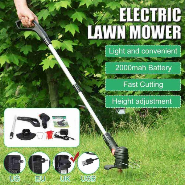 Electric Wireless Small Trimmer Weeder Rechargeable Black Multi Blade Home Garden Weeder (2)