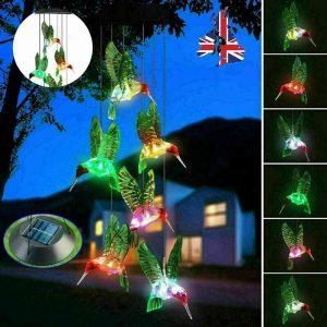 Hanging Hummingbird Lights Led Outdoor Rgb Wind Chimes Solar Powered Lamp Garden (1)