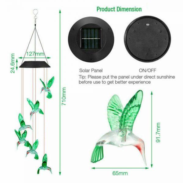Hanging Hummingbird Lights Led Outdoor Rgb Wind Chimes Solar Powered Lamp Garden (13)