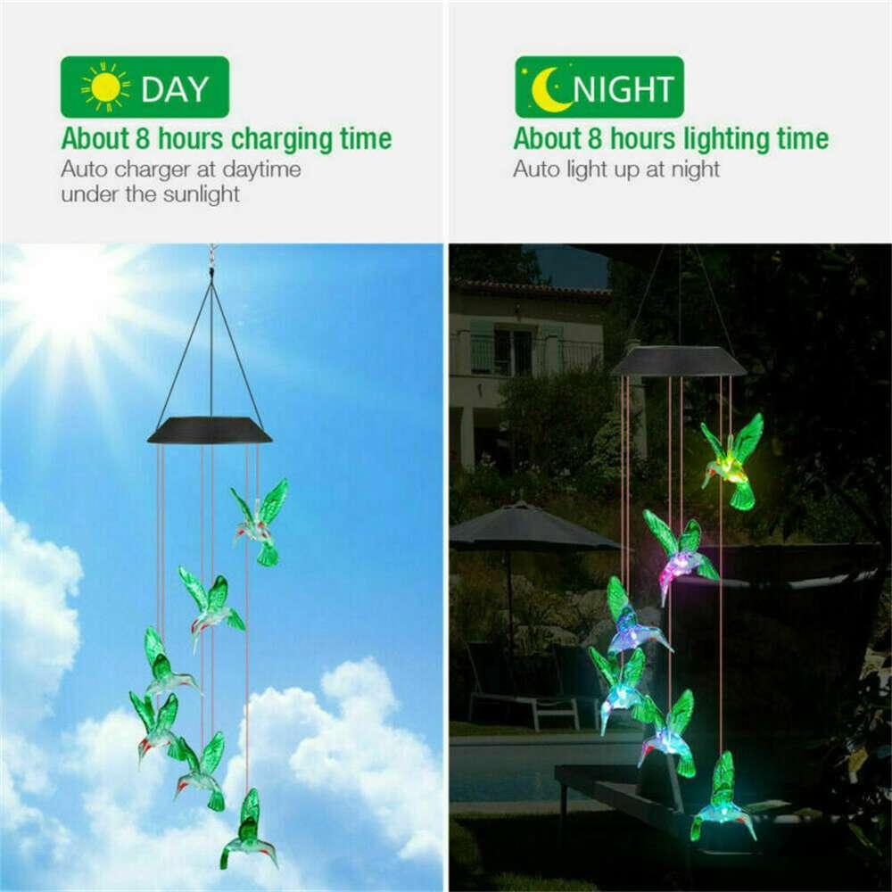 Hanging Hummingbird Lights Led Outdoor Rgb Wind Chimes Solar Powered Lamp Garden (14)