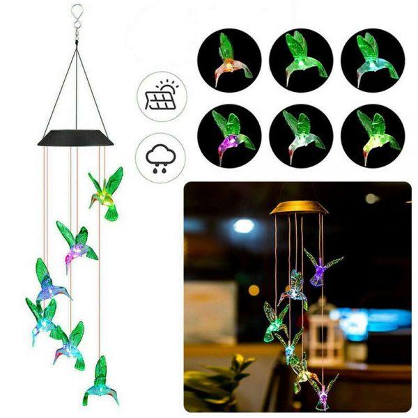 Hanging Hummingbird Lights Led Outdoor Rgb Wind Chimes Solar Powered Lamp Garden (18)
