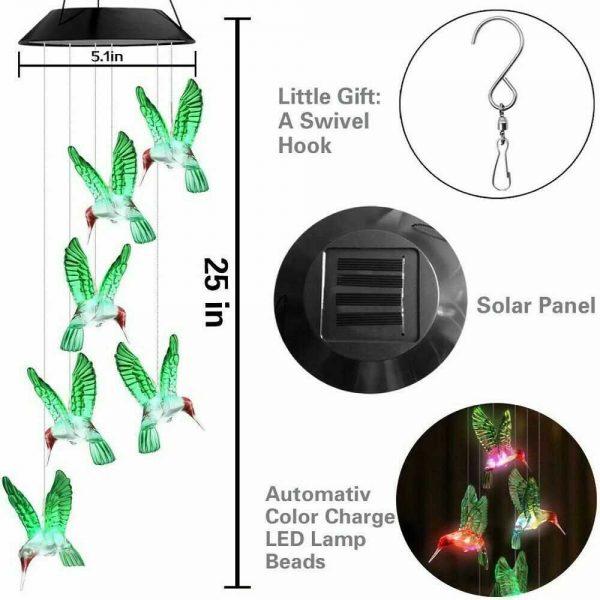Hanging Hummingbird Lights Led Outdoor Rgb Wind Chimes Solar Powered Lamp Garden (19)