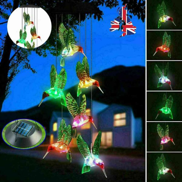 Hanging Hummingbird Lights Led Outdoor Rgb Wind Chimes Solar Powered Lamp Garden (2)