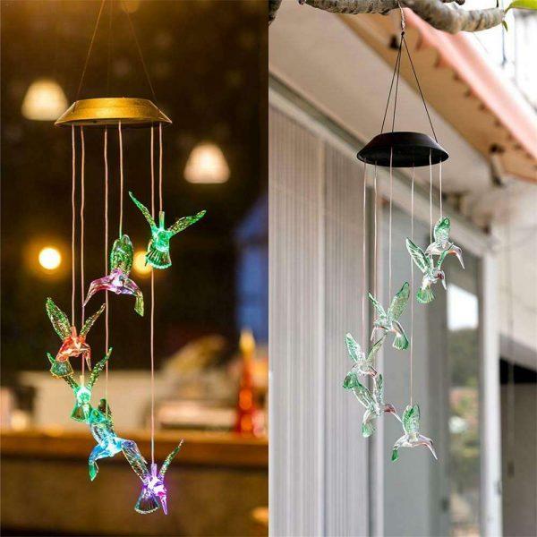 Hanging Hummingbird Lights Led Outdoor Rgb Wind Chimes Solar Powered Lamp Garden (20)