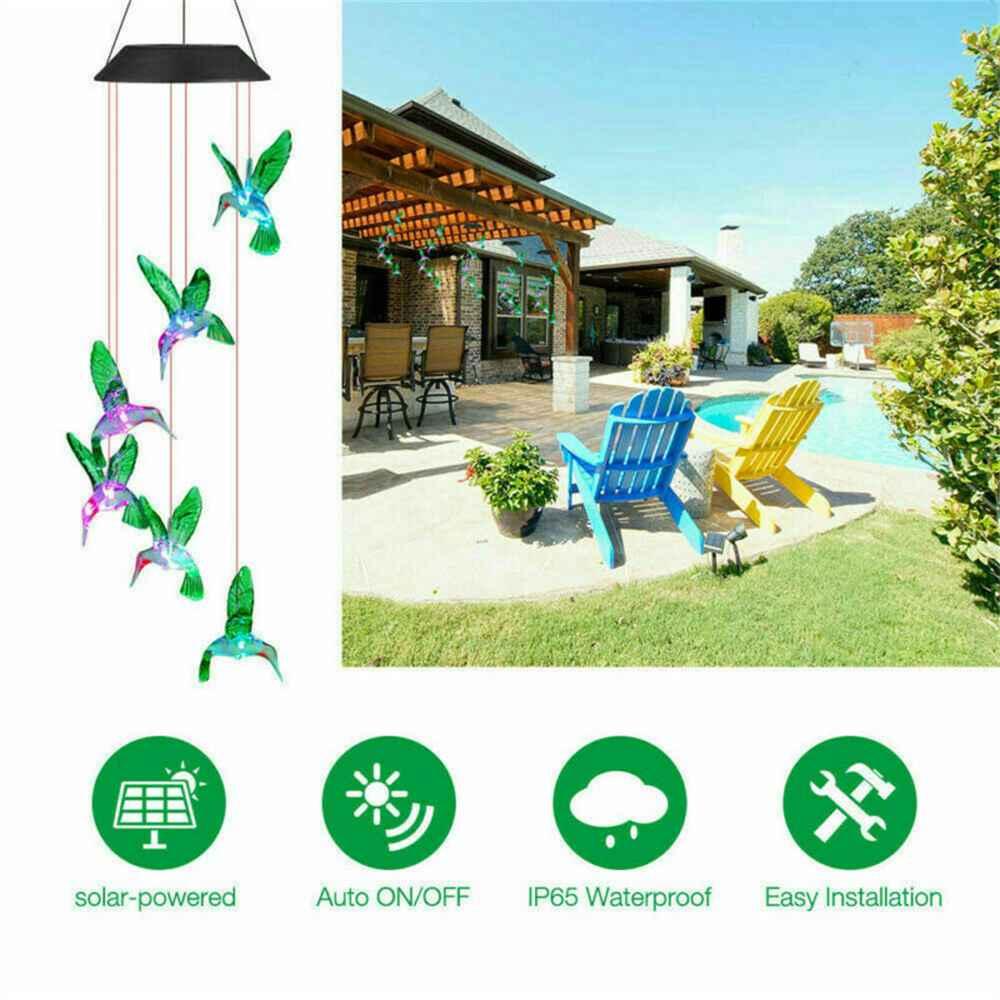 Hanging Hummingbird Lights Led Outdoor Rgb Wind Chimes Solar Powered Lamp Garden (21)