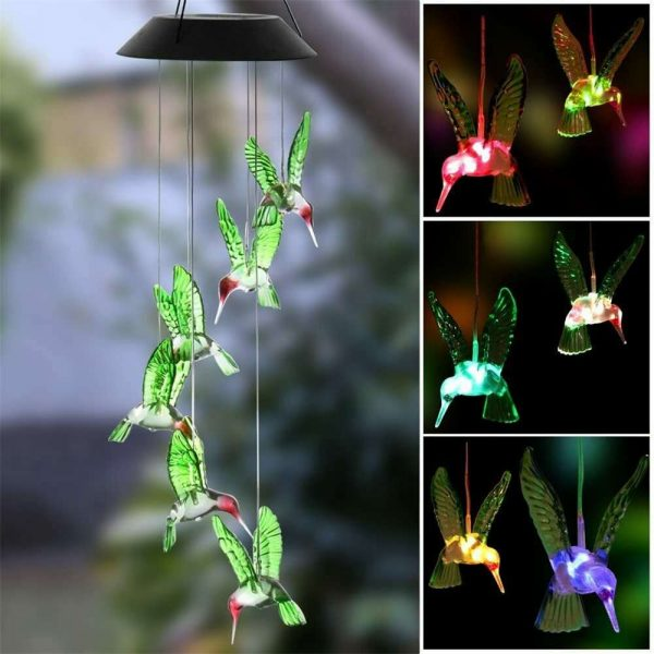 Hanging Hummingbird Lights Led Outdoor Rgb Wind Chimes Solar Powered Lamp Garden (4)